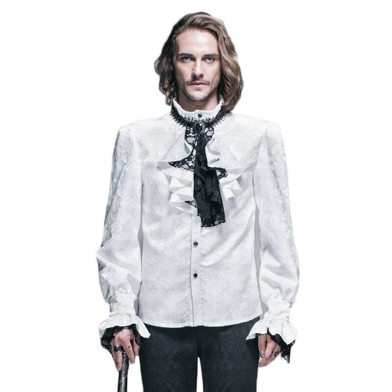 Британский стиль Стимпанк Викторианский белые блузки с галстуком воротник размера плюс 3XL Готический мужской длинный рукав платье рубашка для мужчин - 3