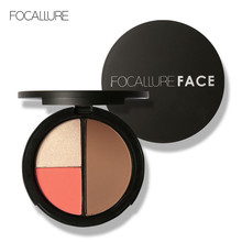 FOCALLURE 3 Colors Highlighters Powder Shimmer Bronzers and  Makeup Blusher Palette