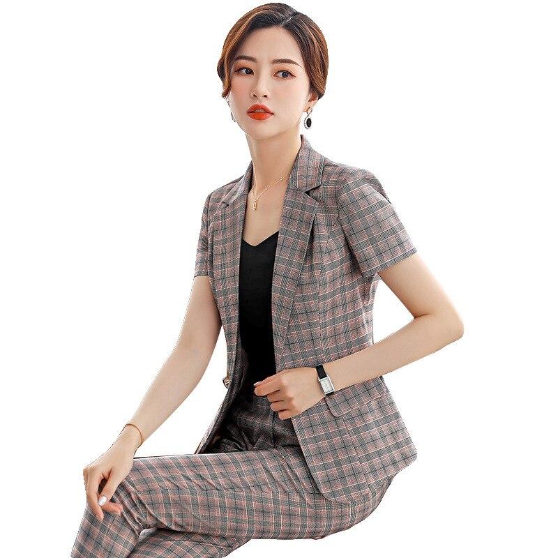 2019 mode tempérament à manches courtes plaid costume d'été femmes deux pièces secrétaire professionnel porter hôtel manager salopette