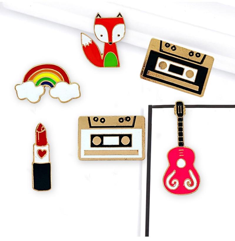 Cute Cartoon Tape Guitar Fox Metal Brooch Denim Jacket Pin Badge Fashion Jewelry
