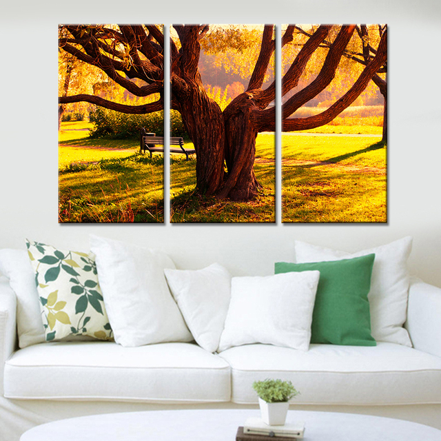 3 Pieces Giant Trees Wall Pictures For Living Room Landscape Wall Painting  Poster Home Decor Canvas
