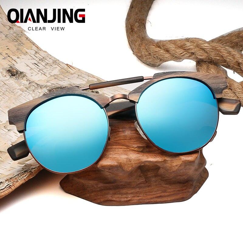 QianJing Rétro lunettes de Soleil En Bois Hommes Bambou Lunettes De Soleil Femmes Brand Design Sport Lunettes Or Miroir Lunettes de Soleil Nuances lunette oculo