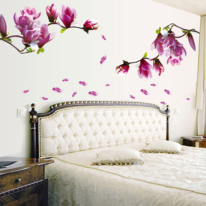 diy magnolia flower wall stickers wall decal living room wallpaper