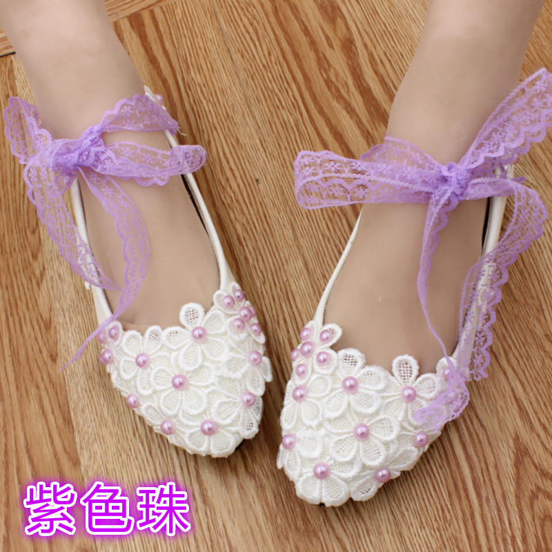 ФОТО High Quality Lace Belt White Flat Bridesmaid Shoes Pearl bandage Bride medium hells Shoes Low-Heeled Shoes dull Female Party