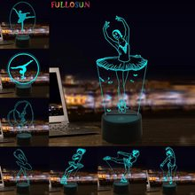 Милый балетный 3D ночной Светильник СВЕТОДИОДНЫЙ балерина настольная лампа Детская Спальня украшение лампа для девочки детский праздничный подарок