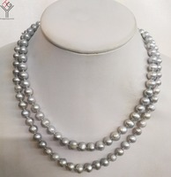 Women Jewelry 30'' 80cm necklace 7x8mm gray pearl handmade necklace natural freshwater cultured pearl