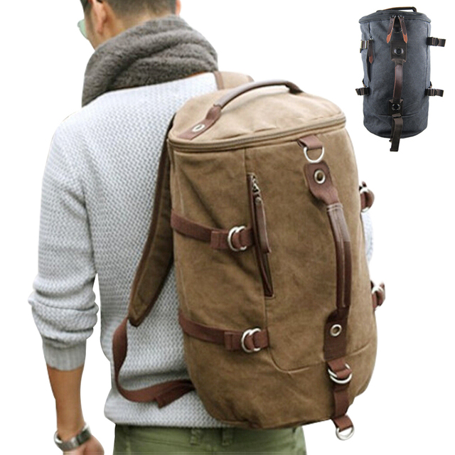 4a6ad1a0552b Large capacity man travel bag mountaineering backpack men bags canvas  bucket shoulder bag YS-314
