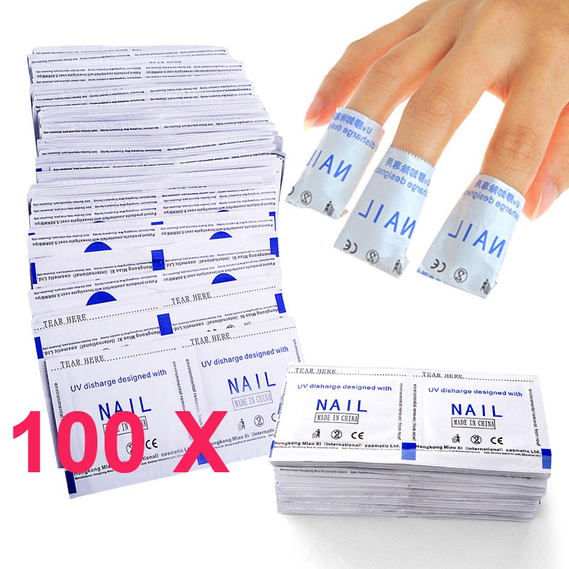 HNM 100pcs Nail Polish Remover Wraps Clean UV LED Nails Easy Remover Tools Degreaser for Nails Quickly Remove Wrap Manicure