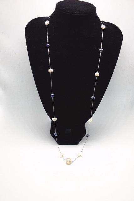 2016 Handmade projeto pérolas naturais de água doce com 925 colar de prata mulheres longo colar de pérolas para o casamento