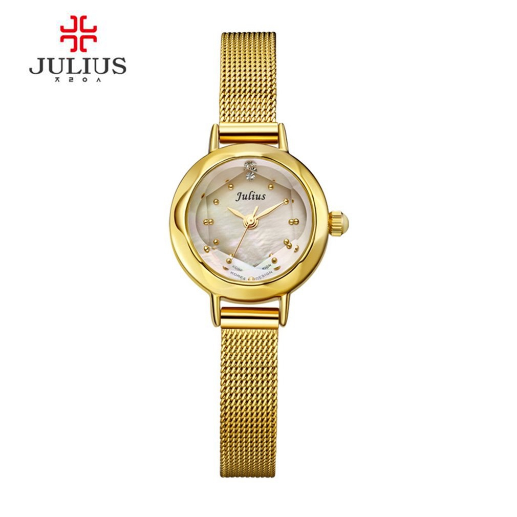 JULIUS Women's Stainless Steel Back Quartz Watches Leather & Mesh Strap Japan Movt Korean Stylish Designer Watch JA-482