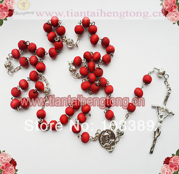 free shipping perfume scent rosary necklace/metal rose spacer bead rosary wooden bead rosary necklace special offer 10pieces/lot