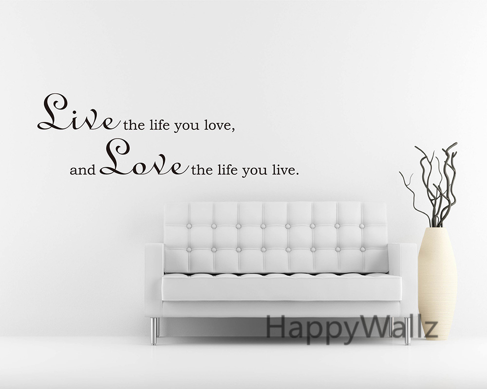 Motivational life quote wall sticker live the life you love love motivational life quote wall sticker live the life you love love the life you live quotes vinyl wall art decal custom colors q63 in underwear from mother amipublicfo Images