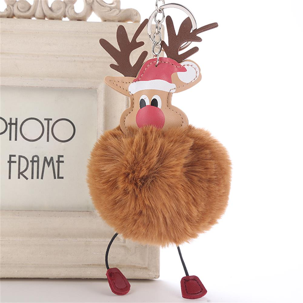 New Creative Cute Christmas Deer Fluffy Pompom Fur Keychain Plush Doll Handbag Keyring Women Girl Fashion Jewelry DIY Bag Decor
