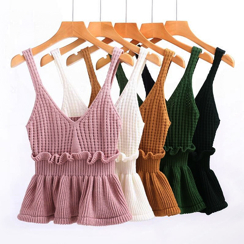 2017 Spring Autumn Women Knitted   Tops   Vest mini Sleeveless short Camis   Tank     Top   Sexy Ladies Ruffles   Top   Vest