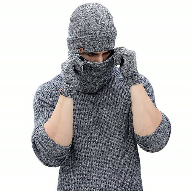 134a5e7a6c8 3 Pcs Set Cool Winter Hats Scarf Gloves For Women Men Thick Cotton Winter  Accessories