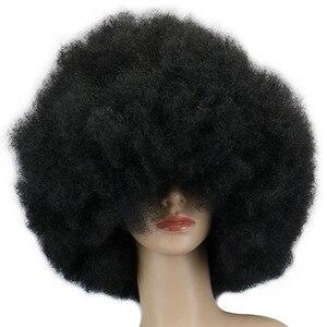 QQXCAIW супер большой короткий парик 200 г для косплея, вечерние, черные, для танцев, афро, синтетические парики