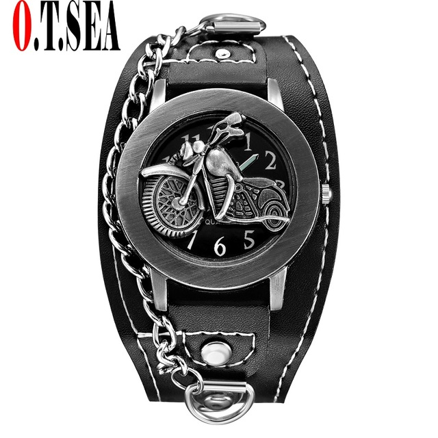 Hot Sales O.T.SEA Brand Motorcycle Leather Watch Men Military Sports Quartz Wris