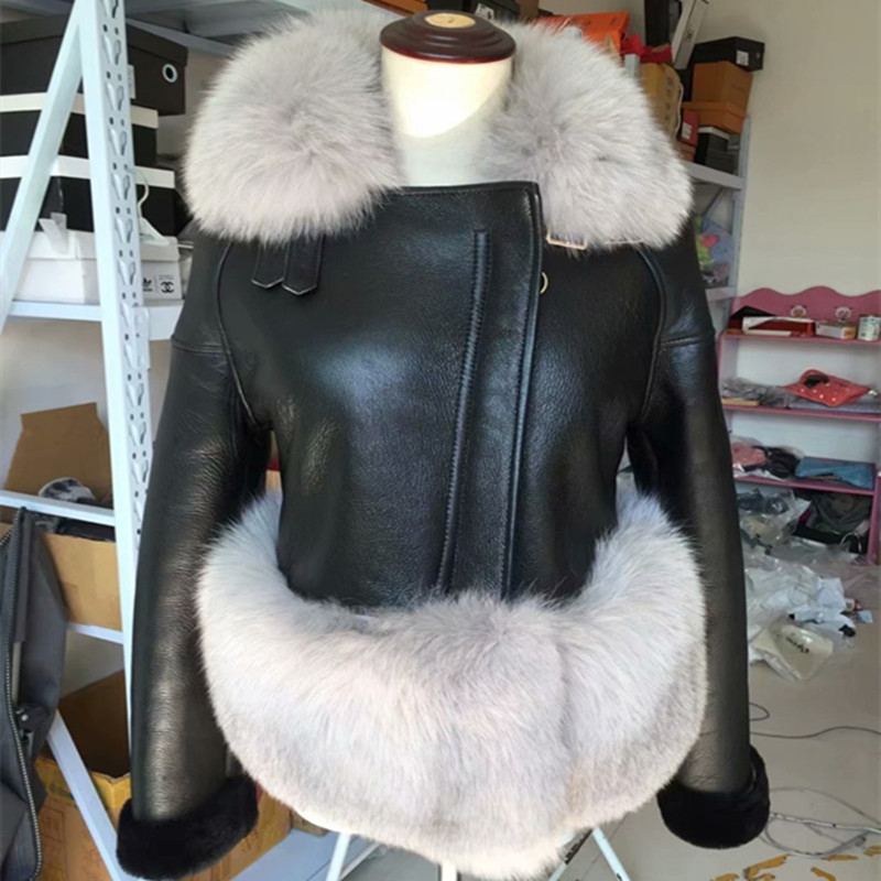 Winter Sheep Shearing Fur One Piece Coat Luxury Real Fox Fur Collar Short Paragraph Genuine Leather Jackets Female AS-10