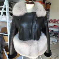 Winter schafschur fell ein stück mantel luxury real fox pelz kragen kurzen absatz echte leder jacken weibliche ALS- 10