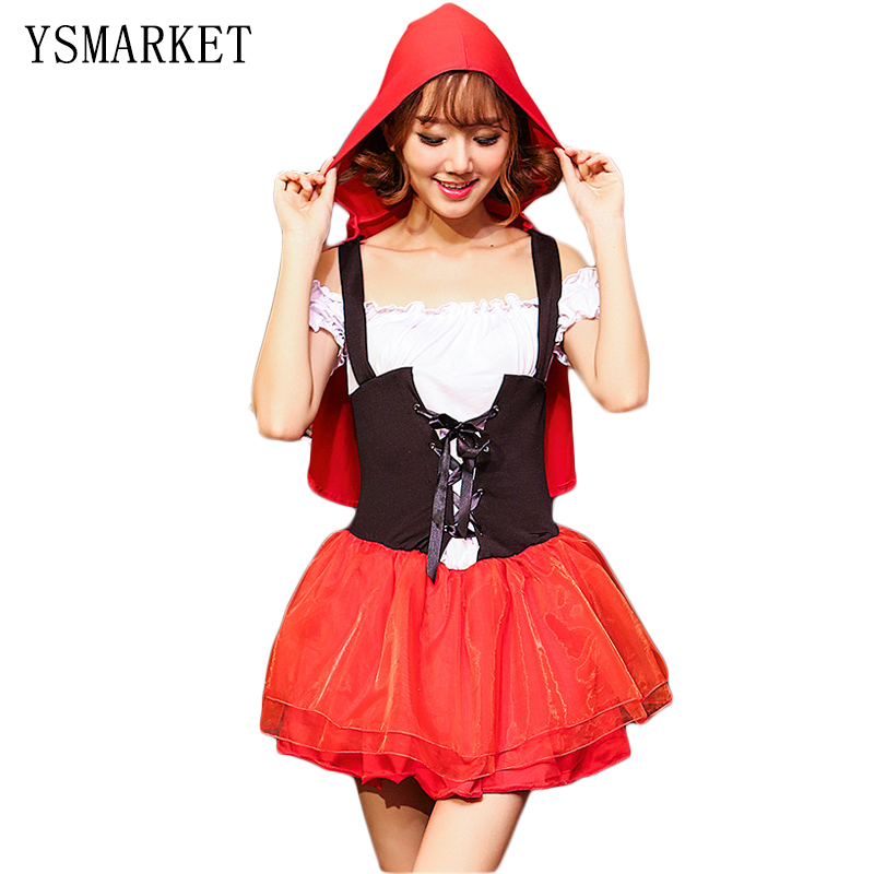 2017 New Adult Little Red Riding Hood Costume Fantasy Game Uniforms Cute Small Redcap Cosplay Party Fancy Dress for women S8216