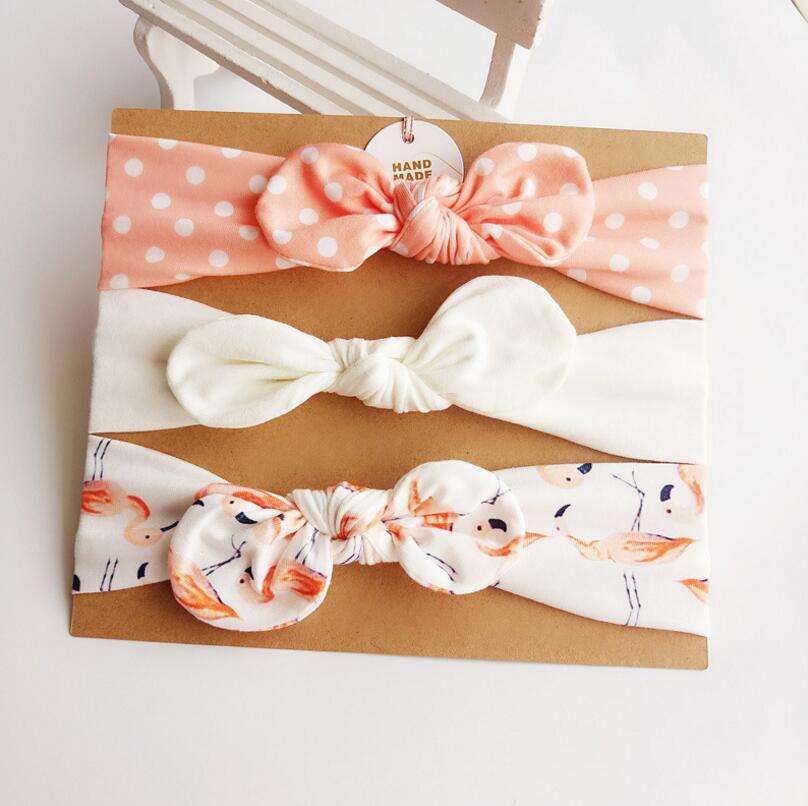 3pcs / lot nyfödda toddler Bomull kanin öra elastisk Headband hårband Head hoop turban headwrap barn flickor hår Tillbehör