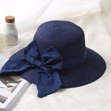 eb533c8839a HT1294 2017 Summer Hats for Women Lady Wide Brim Floppy Beach Hats Female  Large Big Bow Panama Bucket Hats Solid Straw Sun Hats