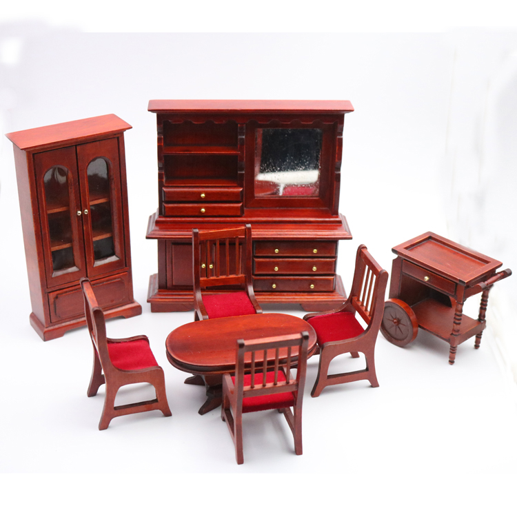 A02 X021 children baby gift Toy 1 12 Dollhouse mini Furniture Miniature rement wooden dining hall