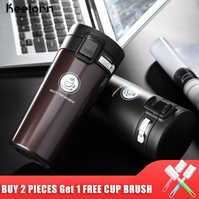 Keelorn Hot Sale Double Wall Stainless Steel Coffee Thermos Cup Mugs Thermal Bottle 500ml Thermocup Fashion  Vacuum Flask Cups