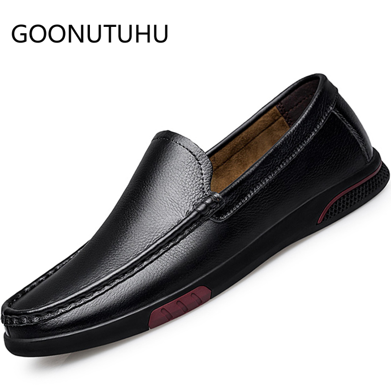 2019 New Men's Shoes Casual Genuine Leather Cow Loafers Male Classic Black Slip On Shoe Man Flat Driving Shoes For Men Hot Sale