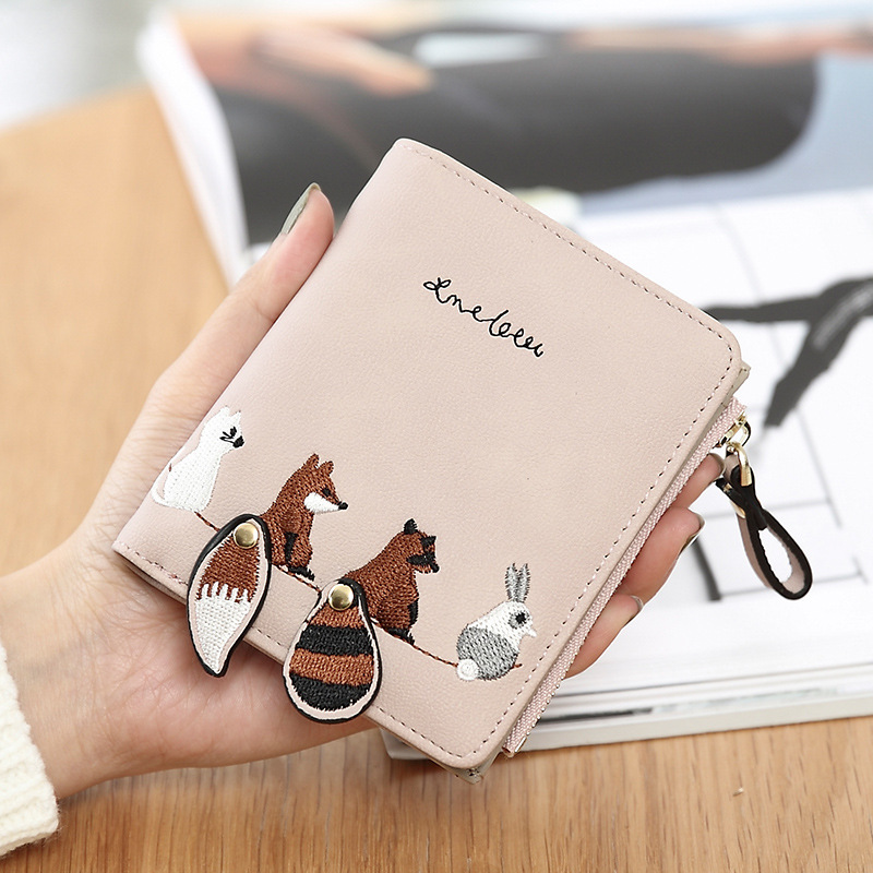 Fashion Women Wallet Lovely Cartoon Animals Short Leather Female Small Coin Purse Hasp Zipper Kid Purse Card Holder For Girls