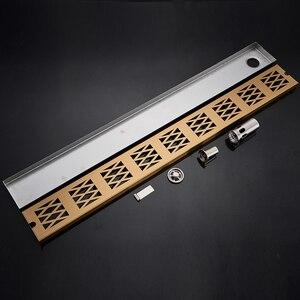 Image 3 - 스테인레스 스틸 욕실 바닥 드레인 900mm 선형 롱 샤워 창살 욕실 채널 타일 배수구
