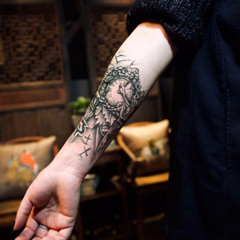 черный 3d Sexy поддельные передача татуировки грудь часы татуировки для мужчин