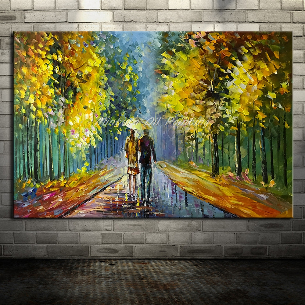 Большой расписанный вручную любовник дождь уличное дерево лампа пейзаж картина маслом на холсте настенные художественные настенные картины для гостиной домашний декор - Цвет: HY142207