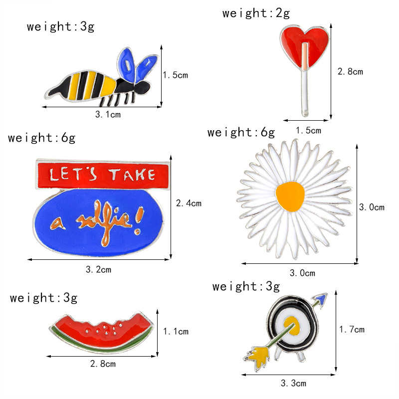 6 pcs/set Kartun enamel Pin Bros Jaket Kemeja Kerah Lencana Lebah Bunga Matahari Cinta Hati Panah Asap Semangka Bros Perhiasan