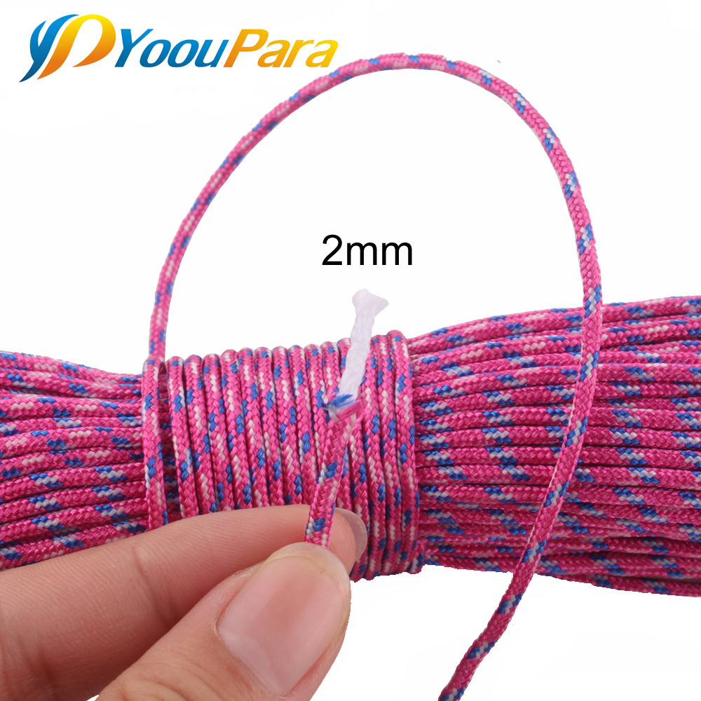 110 Colors 2mm One Stand Cores 50M Paracord For Survival Parachute Cord Lanyard Rope Camping Climbing Camping Rope Hiking