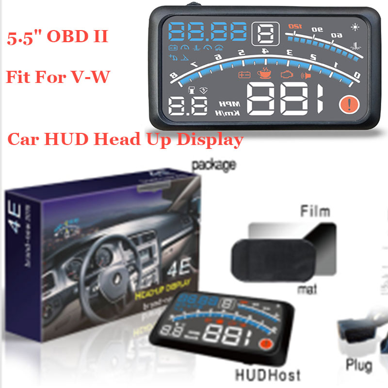 For vw Passat B6 B7 CC Golf Jetta MK5 MK6 Tiguan head up display lights 5.5 Car HUD Head Up Display projector OBD II lamps geyiren x5 avtomobilej head up displej 3 djujmov hud avtomobilja obd ii vozhdenie avtomobilja skorost preduprezhdenie jelektronnyj budilnik naprjazhenie vetrovogo stekla proektor