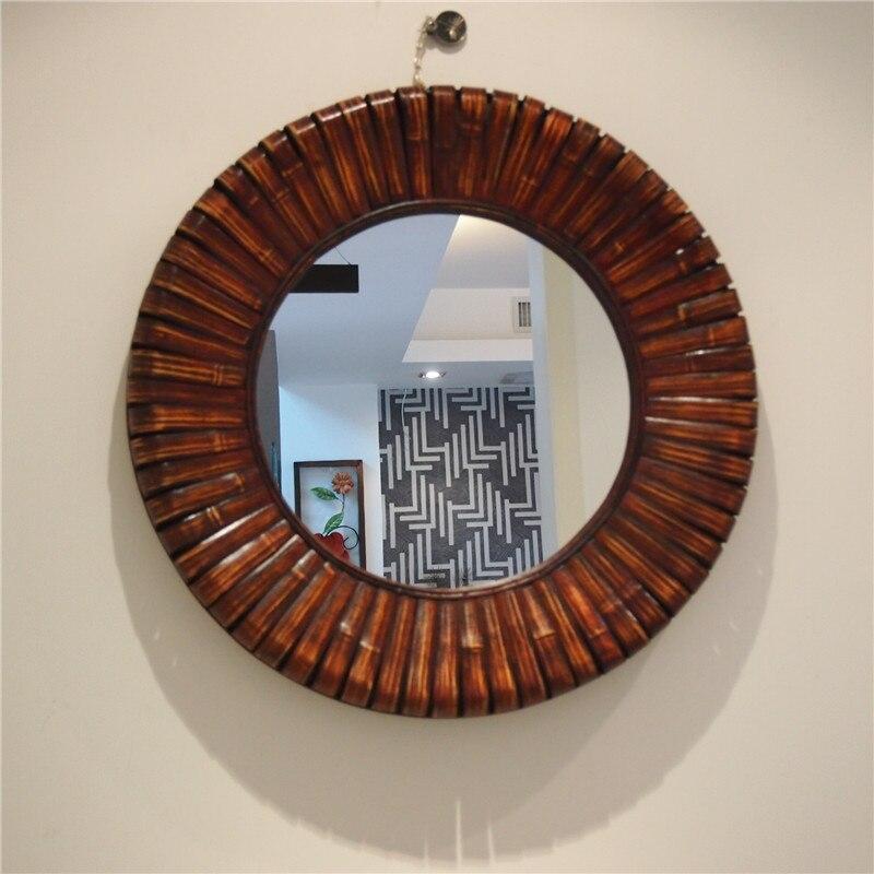 Livraison gratuite Antique plus grand cadre en bambou et en bois miroir Mural rond salon Mural brun décoratif grand miroir Mural
