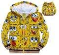 Moda bebê crianças meninos crianças outono inverno veludo além de roupas dos desenhos animados floral zipper character hoodies sweatershirts