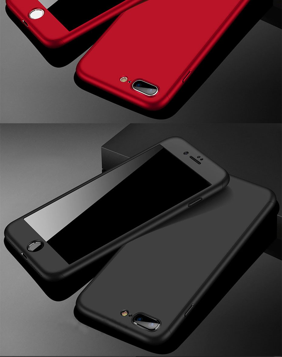 360 Degree Full Cover Phone Shell With Tempered Glass Case For iPhone Models 16