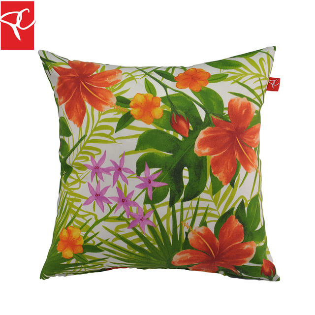 PC 2 unids/set Hoja Verde Flores Throw Pillow Cojines Para Sofá ...