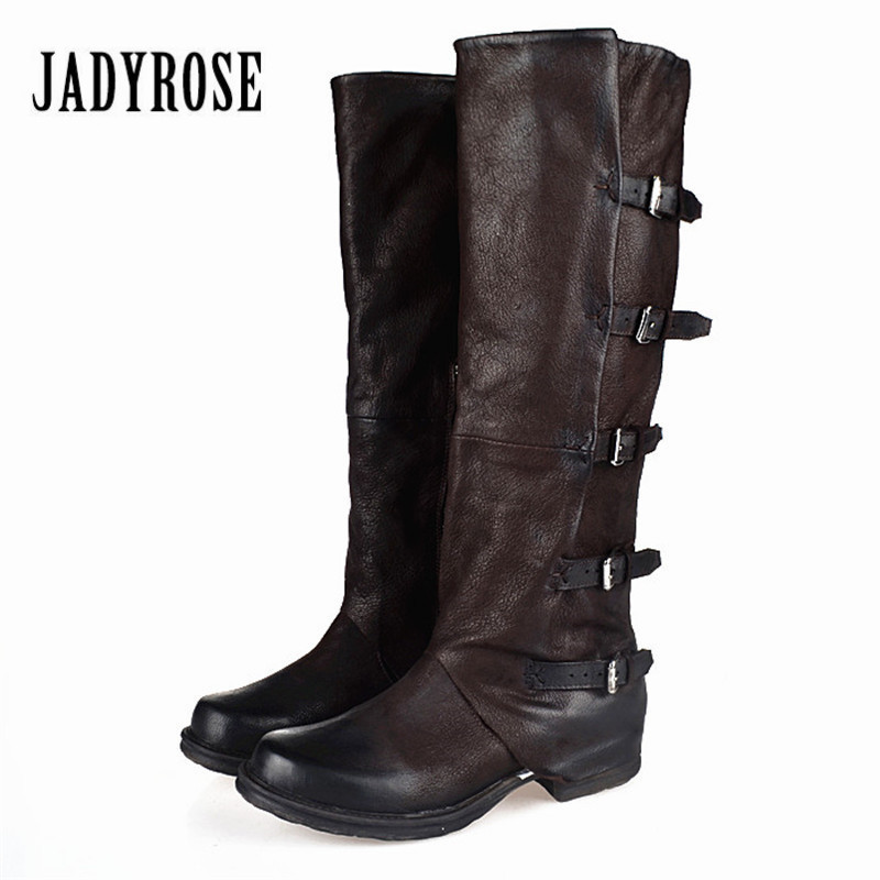 Jady Rose 2017 New Women Knee High Boots Vinatge Winter Riding Boots Flat Shoes Woman Platform Botas Militares Buckles Long Boot jady rose genuine leather women knee high boots vinatge riding boots flat shoes woman platform botas militares straps long boot