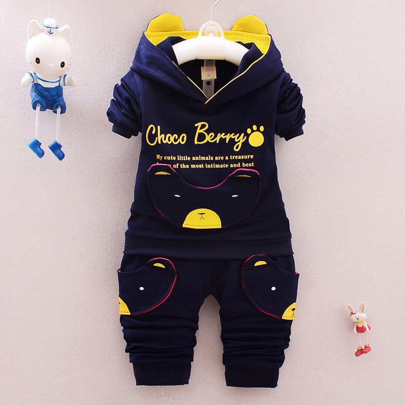 Hot sale 2017 autumn winter casual cartoon bear character hoodie pant kid suit children clothes baby