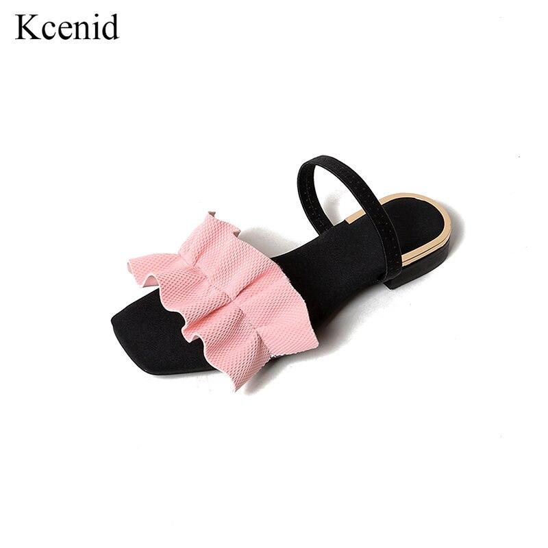 En Gladiateur rose Femmes Noir Mode Cuir 2018 De D'été Occasionnels Plat Chaussures Volants Plage Nouveau Sandales Kcenid Véritable blanc AL5R34jq
