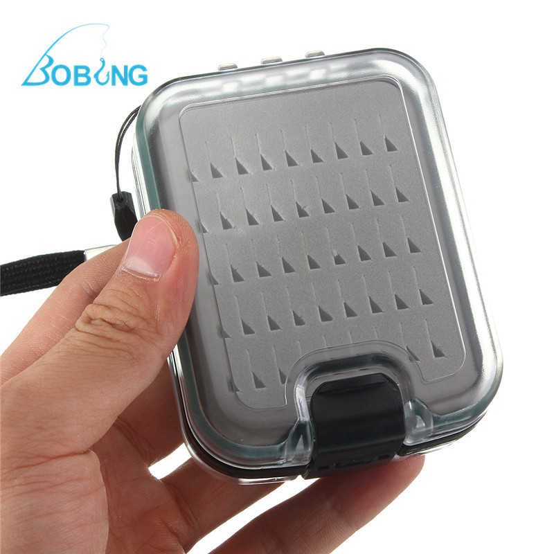 Double Side Waterproof Fly Fishing Box Foam Insert with Lanyard Hold 136 Flies Portable One Hand Size Tackle Box
