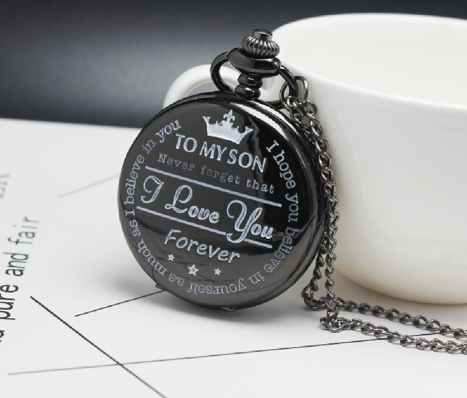 Pocket Watch TO MY SON I LOVE YOU Laser Engraved Quartz Flip Clock For Boy's Children's Fob Chain Clock Kids Gifts For Son Gift