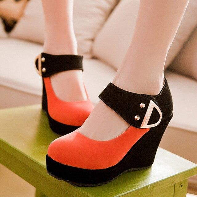 Обувь Женщины Насосы Осень Мэри Джейн Случайные Туфли На Платформе Клинья Каблуки Стадо Блестками Бежевый Красный Плюс Размер 41 42 43