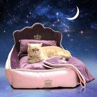 Роскошные принцесса ПЭТ-кровать с Подушка Одеяло кровать собаки Cat Коврик диван собака дом гнездо сна Подушки питомник Талисман Бесплатная ...