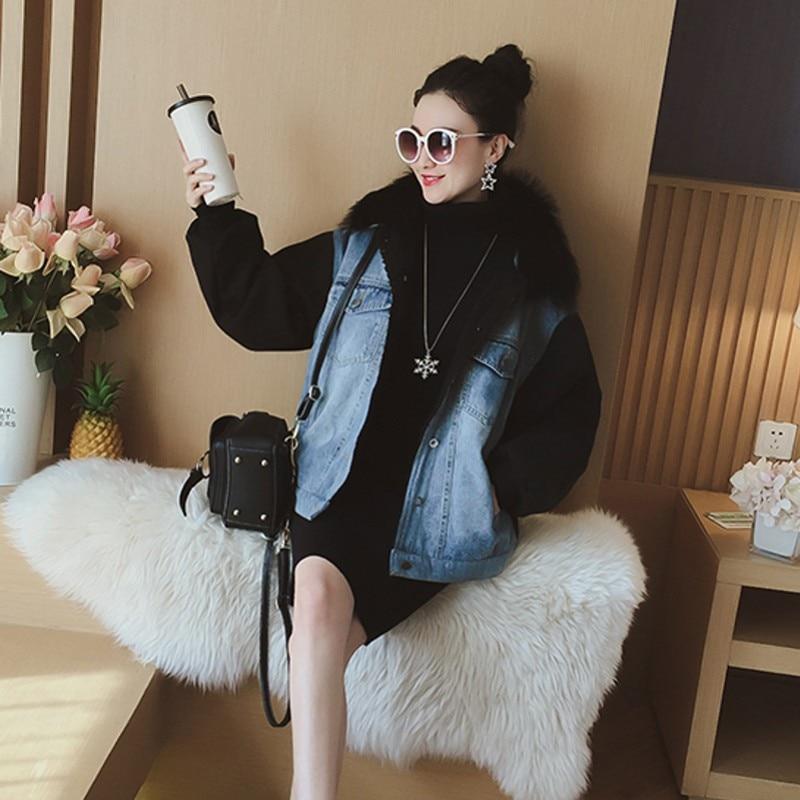 Coréenne Casual Hiver Épais Denim Manteaux Jean Parkas Femmes Court De Nouveau Collier Vintage Chaud Rétro Style Laveur Mode Fourrure Blue Raton Femme q4fwqPBA