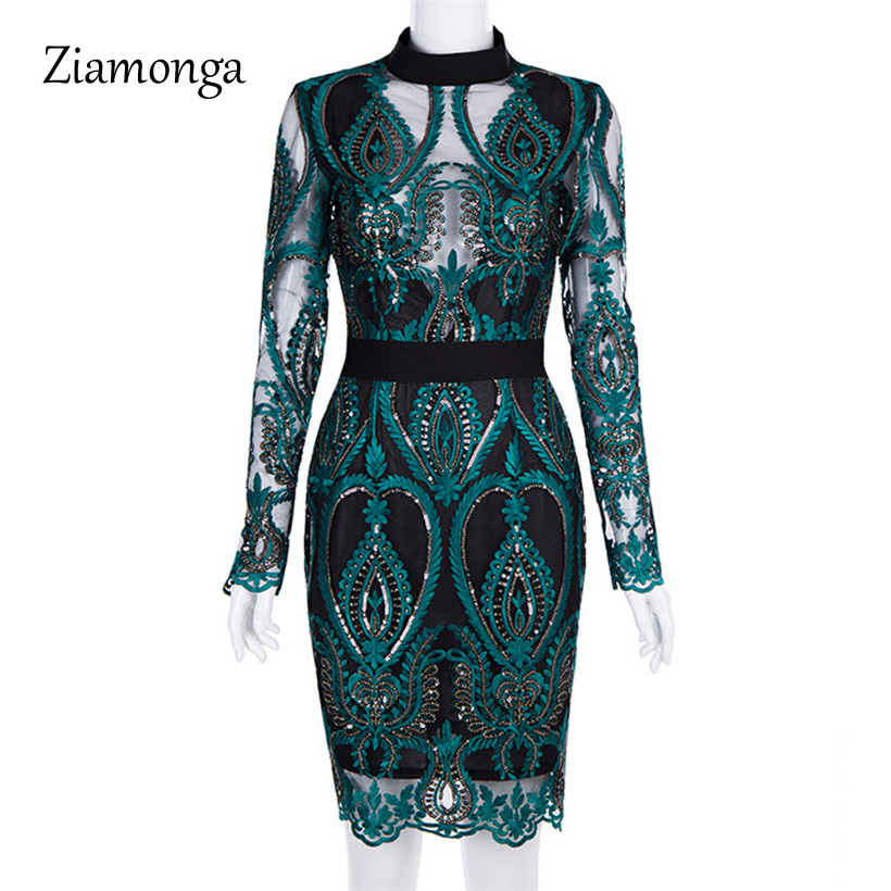 Ziamonga 2019 New Elegant Women Dress Long Sleeve High Neck Lace Mesh Patchwork Sequin Dress