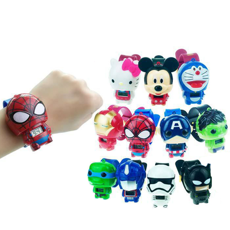 Electronic Cartoon Children's Watch Telescopic Deformation Cat Car Spiderman Child Watches For Student Boys Girl Kids Wristwatch
